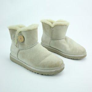 Ugg Cream Slip On Button Boots White Fluffy Sz 8